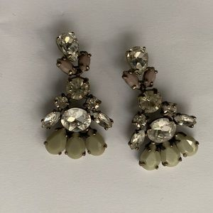 J. Crew // Green, Pink Gems Statement Earrings